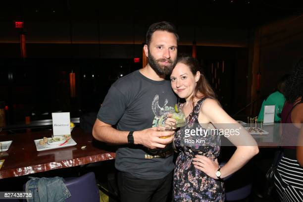 Quincy DunnBaker and Claire Karpen attend the OffBroadway opening night party for 'SUMMER SHORTS 2017' at Fogo de Chao Churrascaria on August 7 2017...