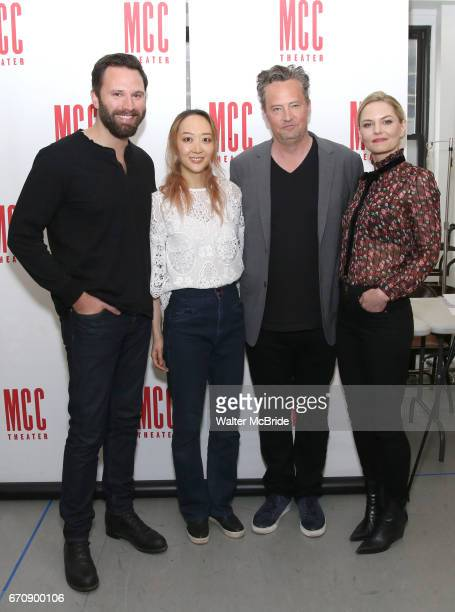 Quincy DunnBaker Sue Jean Kim Matthew Perry and Jennifer Morrison attend 'The End Of Longing' cast photocall at Roundabout Rehearsal Studio on April...