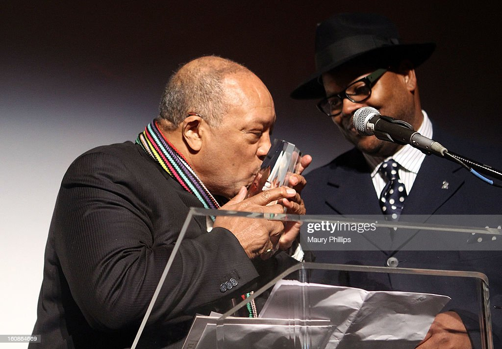 Quincy Jones and Jimmy Jam onstage during The 55th Annual GRAMMY Awards - Producers and Engineers Wing event honoring Quincy Jones And Al Schmitt on February 6, 2013 in Los Angeles, California.