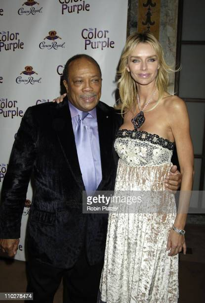 Quincy Jones and Kimberly Hefner during 'The Color Purple' Broadway Opening Night After Party at The New York Public Library in New York City New...