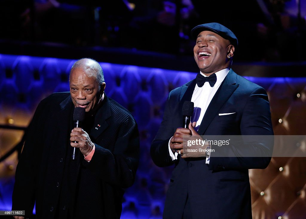 Quincy Jones (L) and LL Cool J introduce Alicia Keys during 'Sinatra 100: An All-Star GRAMMY Concert' celebrating the late Frank Sinatra's 100th birthday at the Encore Theater at Wynn Las Vegas on December 2, 2015 in Las Vegas, Nevada. The show will air on CBS on December 6.