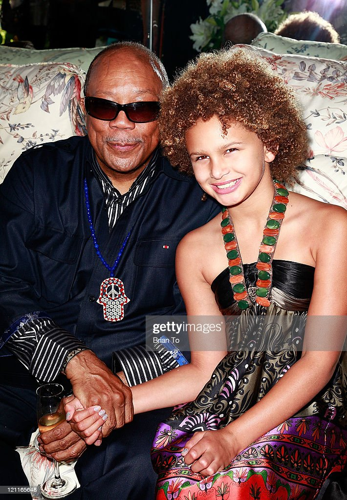Quincy Jones and rapper Lela Brown attend Zsa Zsa Gabor and Prince Frederic 25th wedding anniversary party on August 14, 2011 in Los Angeles, California.
