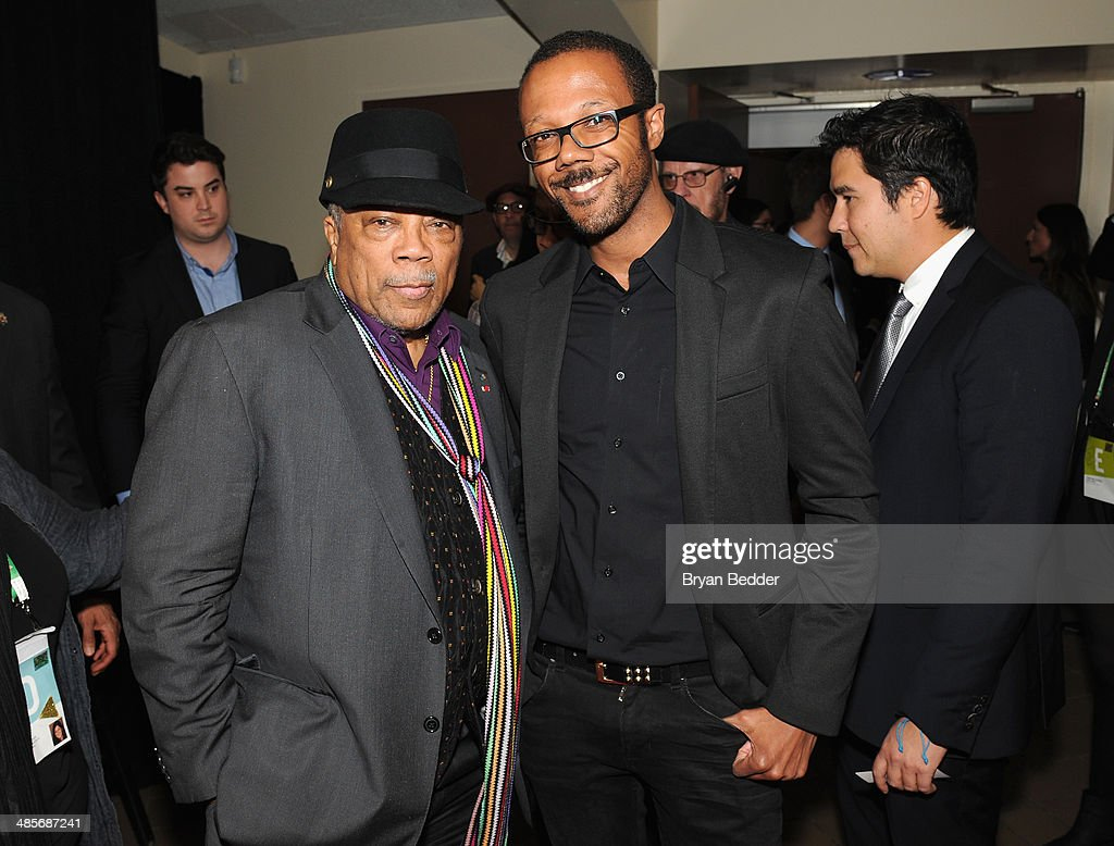 <a gi-track='captionPersonalityLinkClicked' href=/galleries/search?phrase=Quincy+Jones&family=editorial&specificpeople=171797 ng-click='$event.stopPropagation()'>Quincy Jones</a> and Walter Frye, Director of Entertainment Partnerships American Express at the 'Keep On Keepin' On' world premiere exclusively for American Express Card Members at BMCC Tribeca PAC on April 19, 2014 in New York City.
