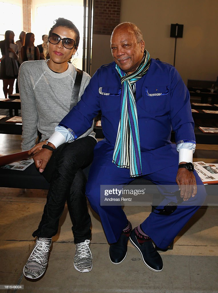 <a gi-track='captionPersonalityLinkClicked' href=/galleries/search?phrase=Quincy+Jones&family=editorial&specificpeople=171797 ng-click='$event.stopPropagation()'>Quincy Jones</a> (R) attend the Missoni show as part of Milan Fashion Week Womenswear Spring/Summer 2014 at on September 22, 2013 in Milan, Italy.