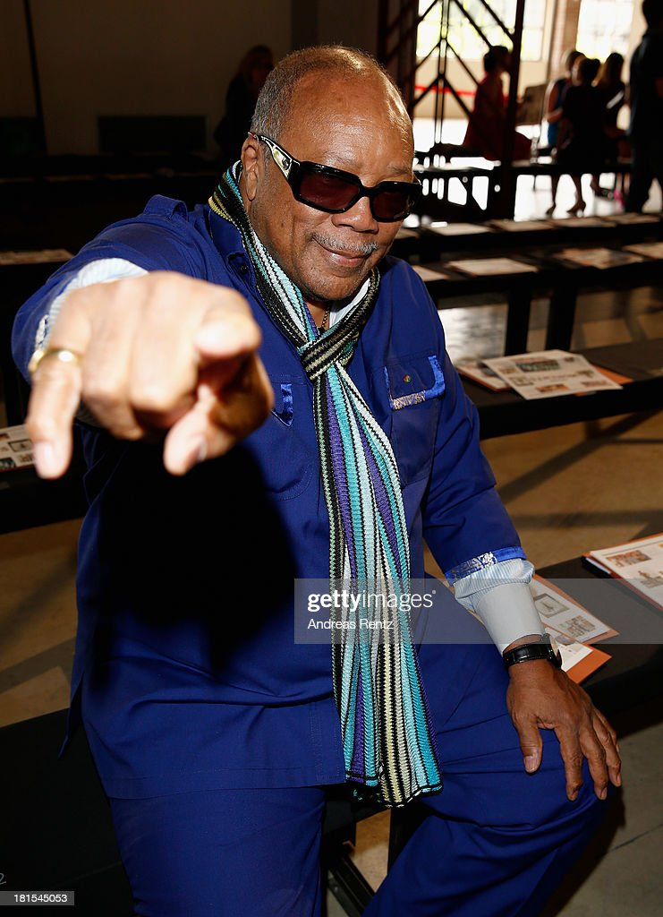 <a gi-track='captionPersonalityLinkClicked' href=/galleries/search?phrase=Quincy+Jones&family=editorial&specificpeople=171797 ng-click='$event.stopPropagation()'>Quincy Jones</a> attends the Missoni show as a part of Milan Fashion Week Womenswear Spring/Summer 2014 on September 22, 2013 in Milan, Italy.