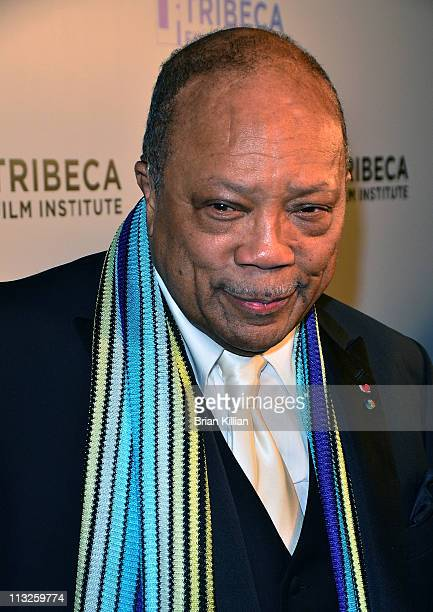 Quincy Jones attends the Tribeca Film Industry's Quincy Jones Tribute during the 10th annual Tribeca Film Festival at Hiro Ballroom at The Maritime...