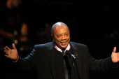 Quincy Jones on stage at The Thelonious Monk Institute of Jazz and The Recording Academy Los Angeles chapter honoring Herbie Hancock all star tribute...