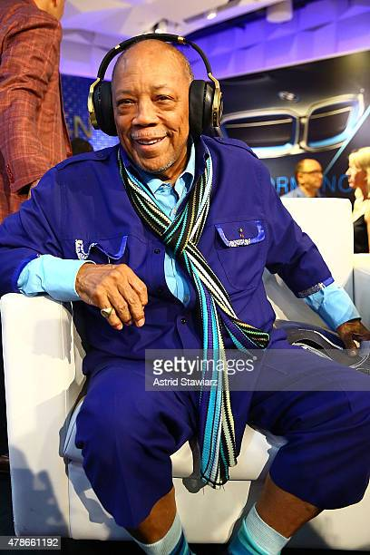 Quincy Jones unveils the world's first headphones with personalized sound the N90Q from AKG by HARMAN at the HARMAN flagship store on June 26 2015 in...