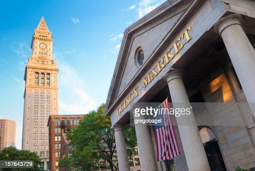 クインシーマーケット、カスタムハウスタワーでマサチューセッツ州ボストン)