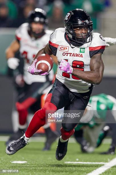 Quincy McDuffie of the Ottawa Redblacks returns a kick in the game between the Ottawa Redblacks and Saskatchewan Roughriders at Mosaic Stadium on...