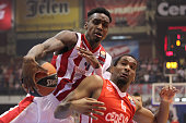 Quincy Miller #30 of Crvena Zvezda Telekom Belgrade competes with James White #4 of Cedevita Zagreb during the Turkish Airlines Euroleague Basketball...