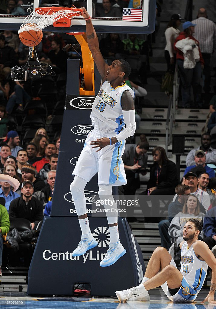 Quincy Miller #30 of the Denver Nuggets dunks against the Milwaukee Bucks on February 5, 2014 at the Pepsi Center in Denver, Colorado.