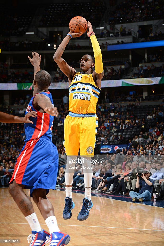 Quincy Miller #30 of the Denver Nuggets shoots against the Detroit Pistons on March 19, 2014 at the Pepsi Center in Denver, Colorado.