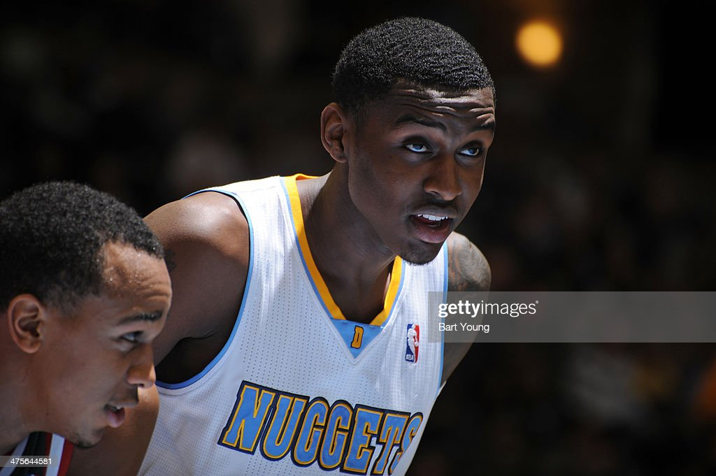 Quincy Miller #30 of the Denver Nuggets stands on the court against the Milwaukee Bucks on February 5, 2014 at the Pepsi Center in Denver, Colorado.