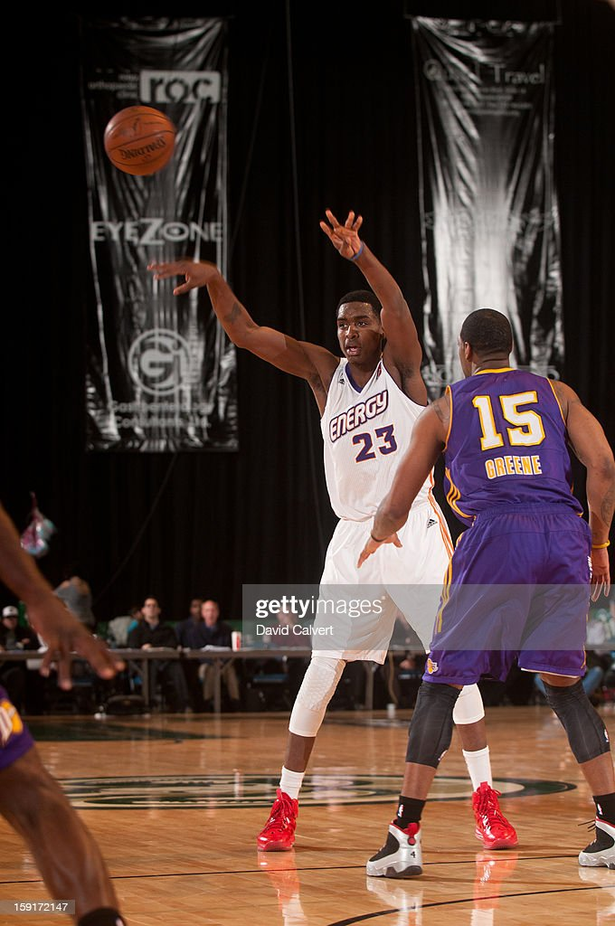 Quincy Miller #23 of the Iowa Energy, guarded by Orien Greene #15 of the Los Angeles D-Fenders, passes to a teammate during the 2013 NBA D-League Showcase on January 8, 2013 at the Reno Events Center in Reno, Nevada.