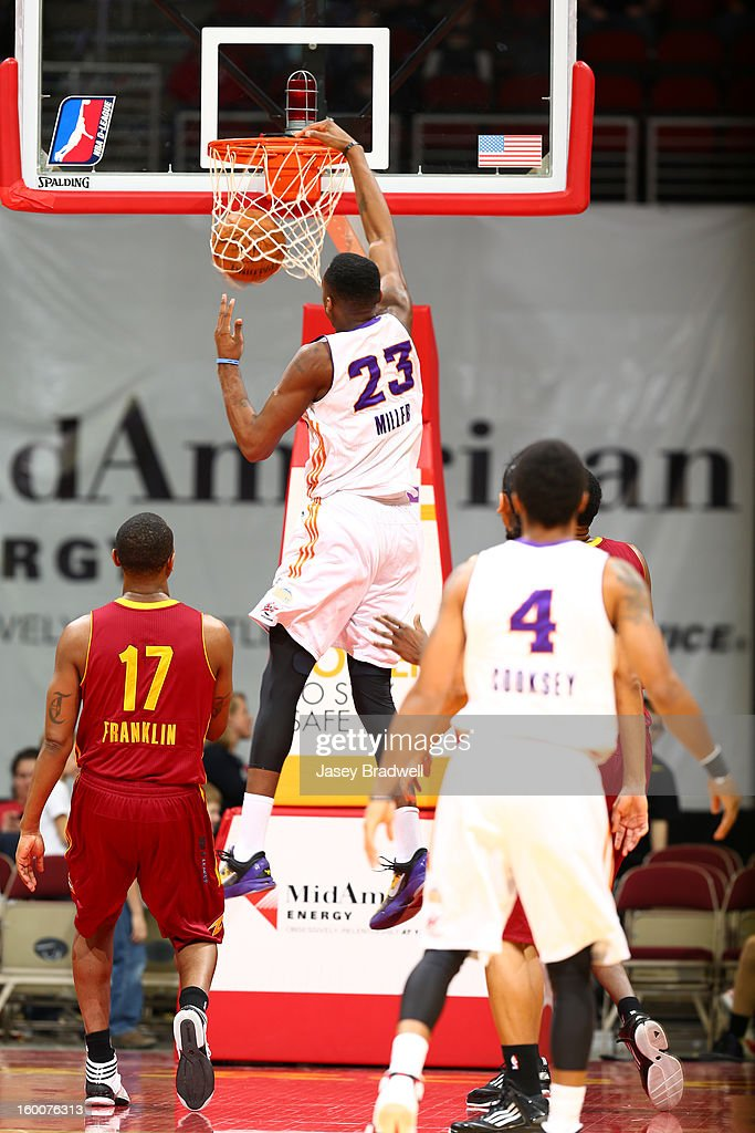 Quincy Miller #23 of the Iowa Energy slams it home past Travis Franklin #17 of the Canton Charge in an NBA D-League game on January 25, 2013 at the Wells Fargo Arena in Des Moines, Iowa.