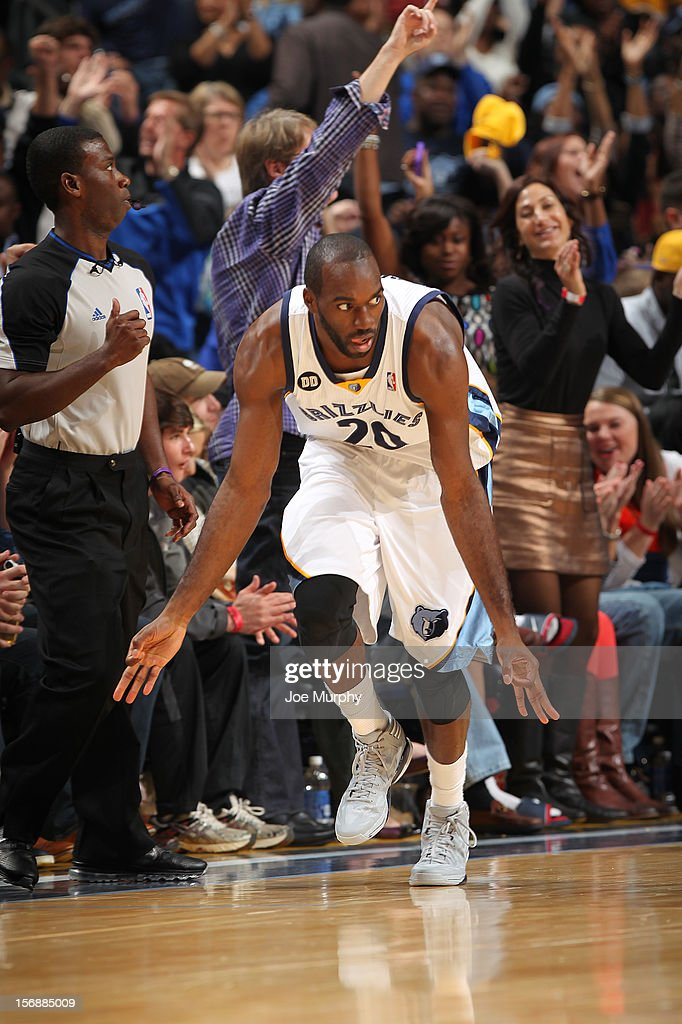 Quincy Pondexter #20 of the Memphis Grizzlies celebrates after making a three point basket against the Los Angeles Lakers on November 23, 2012 at FedExForum in Memphis, Tennessee.