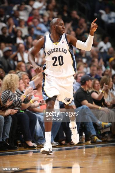Quincy Pondexter of the Memphis Grizzlies celebrates during a game against the Detroit Pistons on November 1 2013 at FedExForum in Memphis Tennessee...