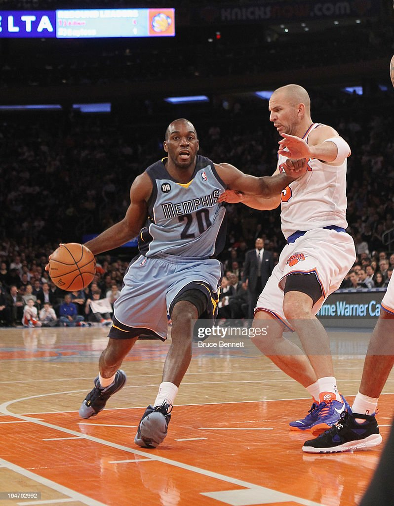 Quincy Pondexter #20 of the Memphis Grizzlies dribbles against the New York Knicks at Madison Square Garden on March 27, 2013 in New York City. The Knicks defeated the Grizzlies 108-101.