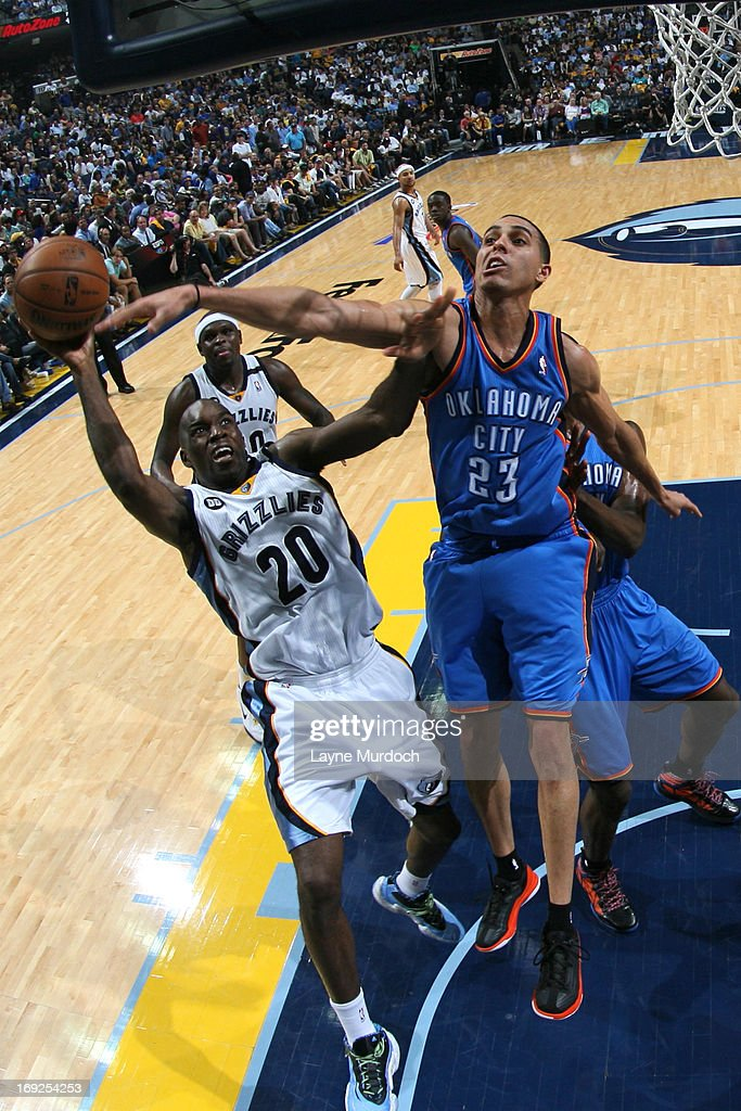 <a gi-track='captionPersonalityLinkClicked' href=/galleries/search?phrase=Quincy+Pondexter&family=editorial&specificpeople=4176540 ng-click='$event.stopPropagation()'>Quincy Pondexter</a> #20 of the Memphis Grizzlies drives to the basket against the Oklahoma City Thunder in Game Three of the Western Conference Semifinals during the 2013 NBA Playoffs on May 11, 2013 at FedExForum in Memphis, Tennessee.