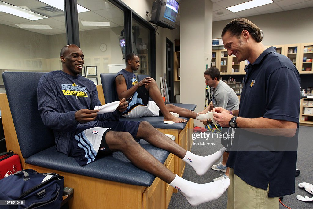 Quincy Pondexter #20 of the Memphis Grizzlies gets taped up before the game against the Los Angeles Clippers in Game Four of the Western Conference Quarterfinals during the 2013 NBA Playoffs on April 25, 2013 at FedExForum in Memphis, Tennessee.