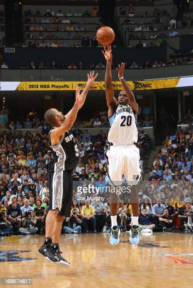 Quincy Pondexter of the Memphis Grizzlies goes for a jump shot against Tony Parker of the San Antonio Spurs in Game Four of the Western Conference...