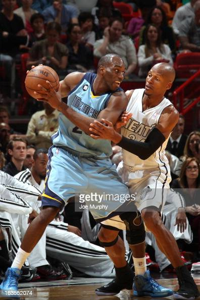Quincy Pondexter of the Memphis Grizzlies handles the ball against Ray Allen of the Miami Heat on March 1 2013 at American Airlines Arena in Miami...