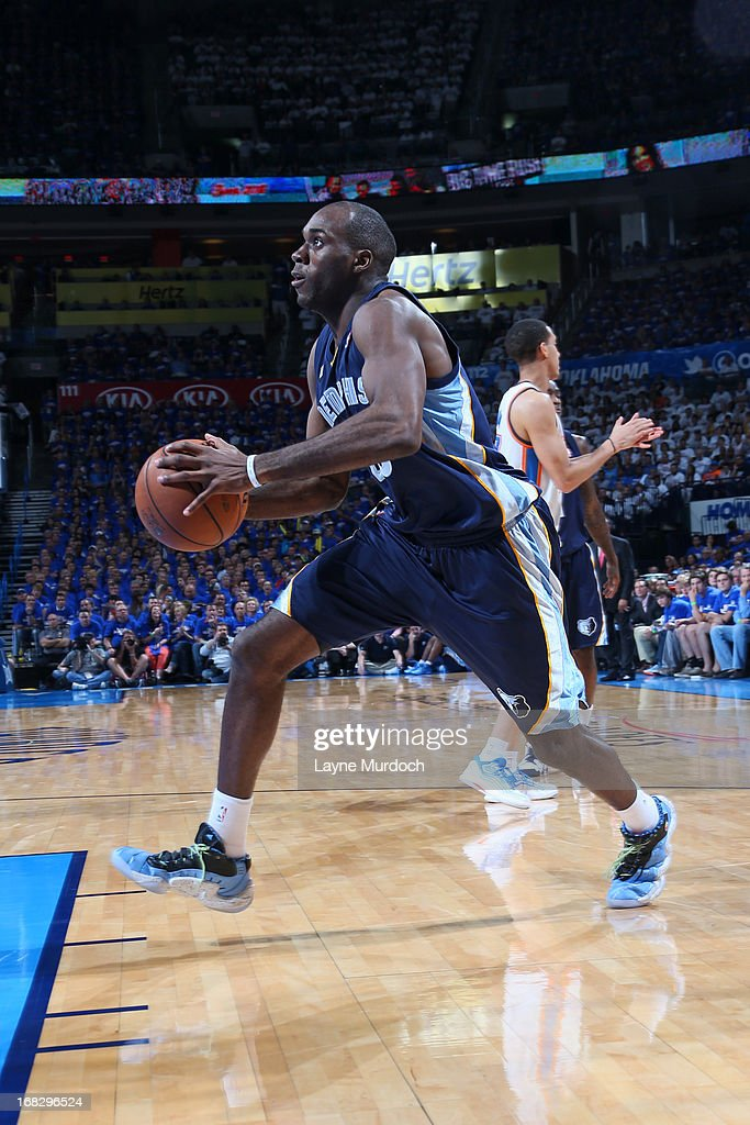 <a gi-track='captionPersonalityLinkClicked' href=/galleries/search?phrase=Quincy+Pondexter&family=editorial&specificpeople=4176540 ng-click='$event.stopPropagation()'>Quincy Pondexter</a> #20 of the Memphis Grizzlies handles the ball against the Oklahoma City Thunder in Game Two of the Western Conference Semifinals during the 2013 NBA Playoffs on May 7, 2013 at the Chesapeake Energy Arena in Oklahoma City, Oklahoma.