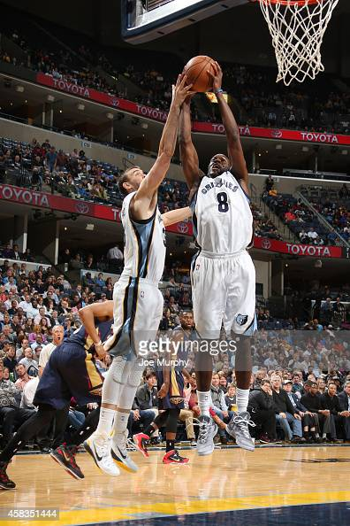 Quincy Pondexter of the Memphis Grizzlies jumps for the ball during the game on November 3 2014 at FedExForum in MemphisTennessee NOTE TO USER User...