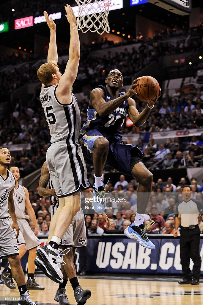 Quincy Pondexter of the Memphis Grizzlies shoots a layup against Matt Bonner of the San Antonio Spurs in Game Two of the Western Conference Finals...