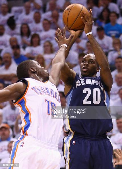 Quincy Pondexter of the Memphis Grizzlies takes a shot against Reggie Jackson of the Oklahoma City Thunder during Game Two of the Western Conference...