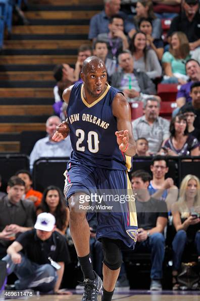 Quincy Pondexter of the New Orleans Pelicans celebrates against the Sacramento Kings on April 3 2015 at Sleep Train Arena in Sacramento California...