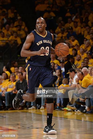 Quincy Pondexter of the New Orleans Pelicans drives to the basket against the Golden State Warriors during Game One of the Western Conference...