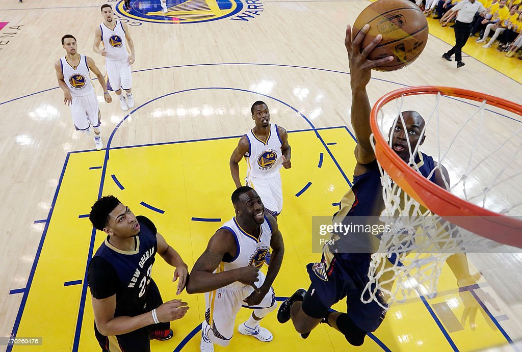 Quincy Pondexter of the New Orleans Pelicans goes in for a layup against the Golden State Warriors in the first half during the first round of the...