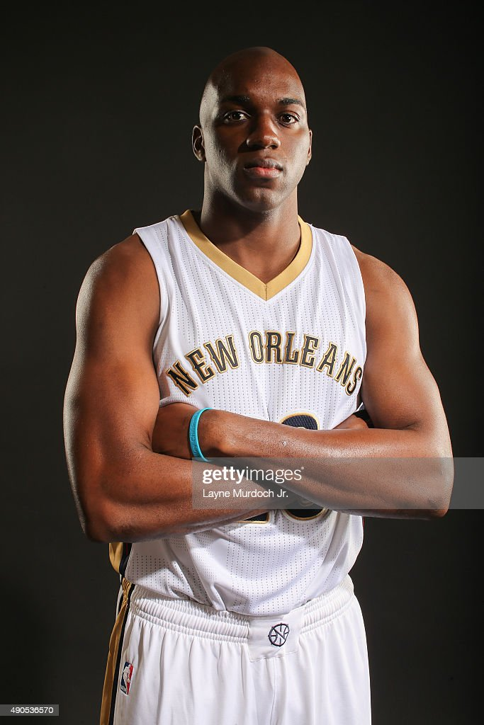 Quincy Pondexter of the New Orleans Pelicans poses for photos during NBA Media Day on September 28 2015 at the New Orleans Pelicans practice facility...