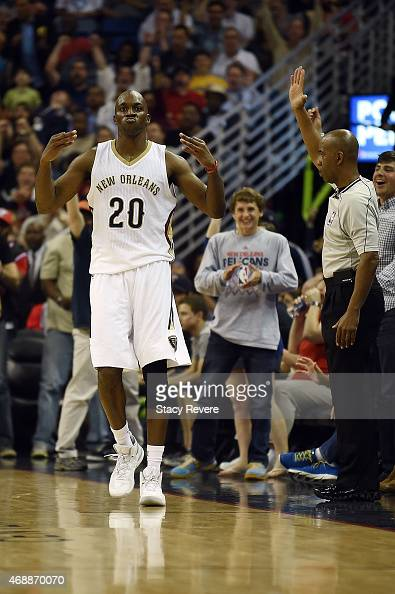 Quincy Pondexter of the New Orleans Pelicans reacts to a threepoint shot during the second half of a game against the Golden State Warriors at the...