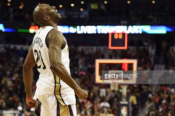 Quincy Pondexter of the New Orleans Pelicans reacts to a victory over the Miami Heat at the Smoothie King Center on February 27 2015 in New Orleans...
