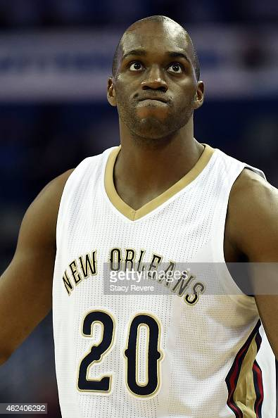 Quincy Pondexter of the New Orleans Pelicans reacts to an officials call during the second half of a game against the Philadelphia 76ers at the...