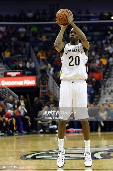 Quincy Pondexter of the New Orleans Pelicans takes a shot during a game against the Los Angeles Lakers at the Smoothie King Center on January 21 2015...