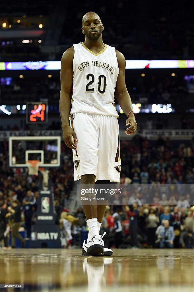 Quincy Pondexter of the New Orleans Pelicans takes the court during the second half of a game against the Miami Heat at the Smoothie King Center on...