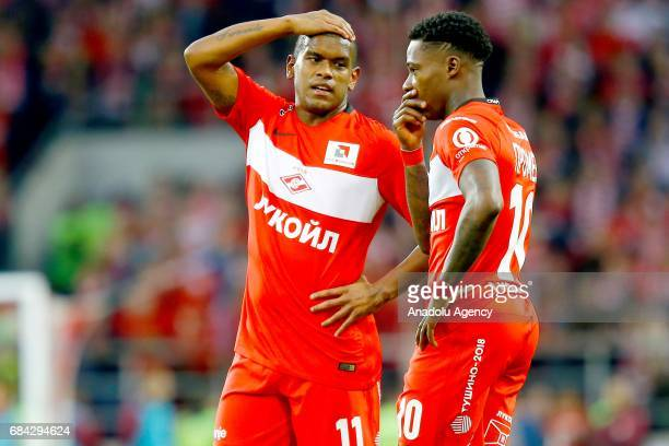 Quincy Promes and Fernando of FC Spartak Moscow during the Russian Premier League match between FC Spartak Moscow and Terek Grozny at Otkrytie Arena...