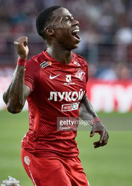 Quincy Promes FC Spartak Moscow celebrates the goal during the Russian Premier League match between FC Spartak Moscow and FC Krasnodar at Otkrytie...