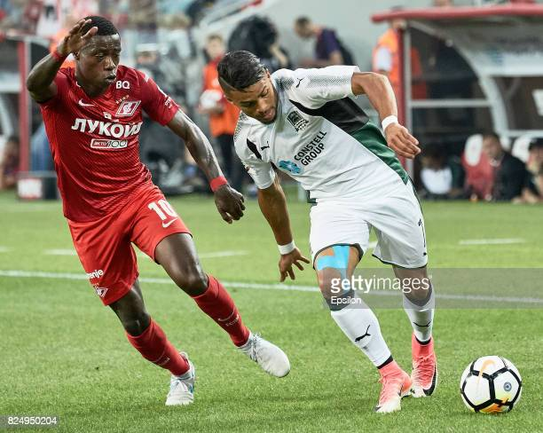 Quincy Promes FC Spartak Moscow vies for the ball with Wanderson of FC Krasnodar during the Russian Premier League match between FC Spartak Moscow...