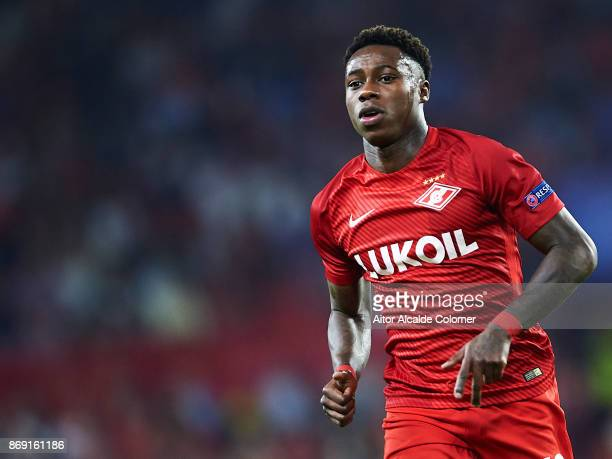 Quincy Promes of FC Spartak Moskva in action during the UEFA Champions League group E match between Sevilla FC and Spartak Moskva at Estadio Ramon...