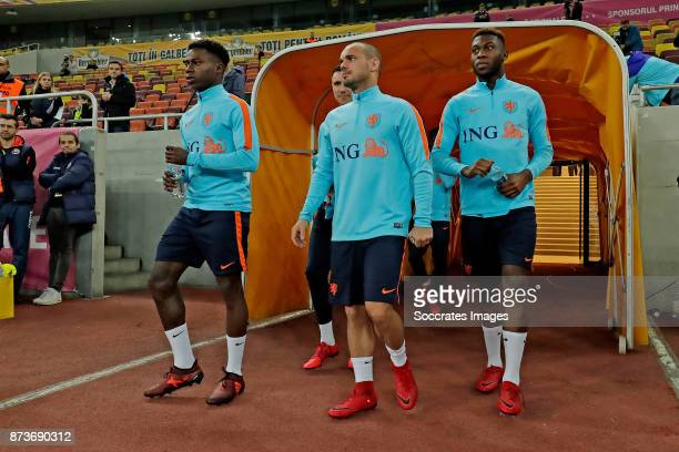 Quincy Promes of Holland Wesley Sneijder of Holland Timothy Fosu Mensah of Holland during the match between Training Holland in Bucharest at the...