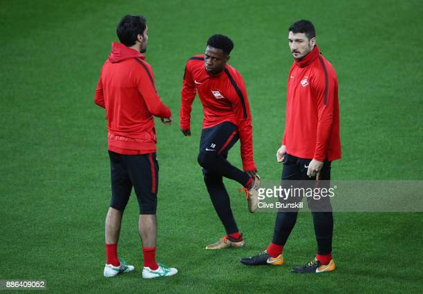 Quincy Promes of Spartak Moskva and and Georgi Dzhikiya of Spartak Moskva looks on during a training session at Anfield on December 5 2017 in...