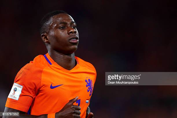Quincy Promes of the Netherlands in action during the FIFA 2018 World Cup Qualifier between Netherlands and Belarus held at De Kuip on October 7 2016...