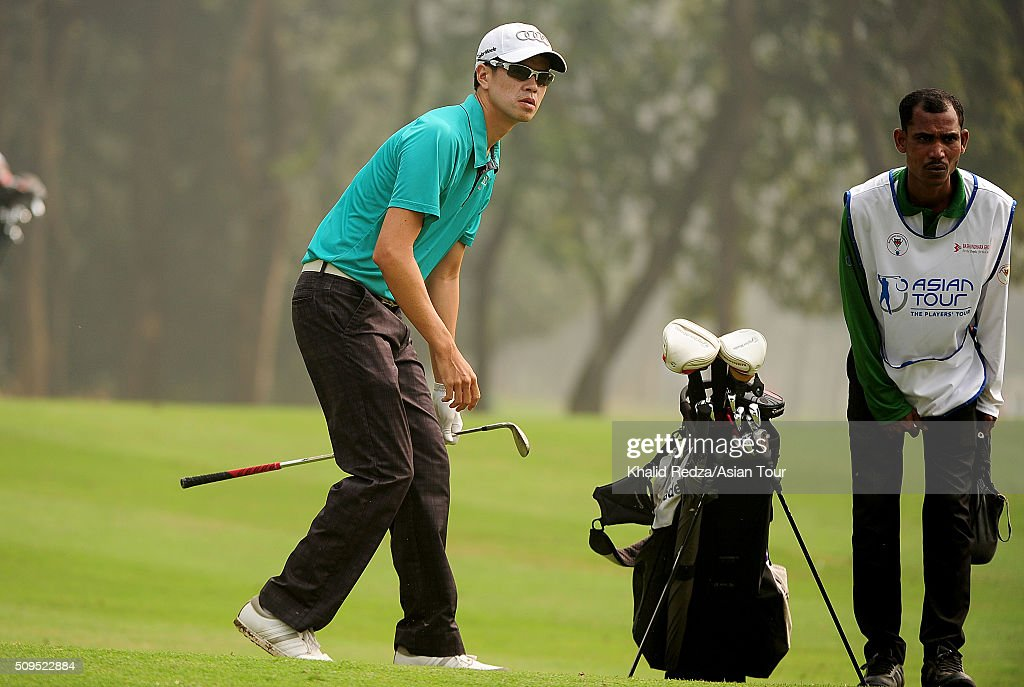 Quincy Quel of Singaporeplays a shot during round two of the Bashundhara Bangladesh Open at Kurmitola Golf Club on February 11, 2016 in Dhaka, Bangladesh.