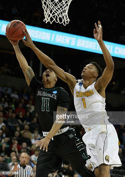 Quincy Smith of the Hawaii Warriors puts up a shot in front of Ivan Rabb of the California Golden Bears in the first half during the first round of...