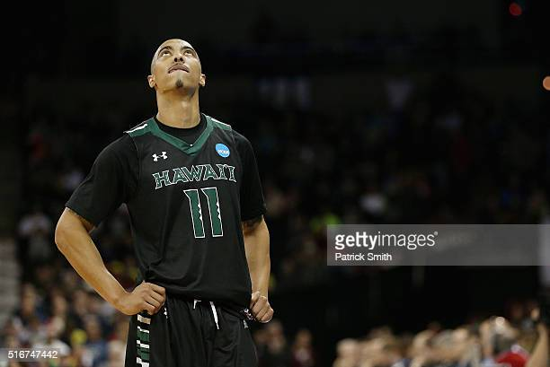 Quincy Smith of the Hawaii Warriors reacts in the second half against the Maryland Terrapins during the second round of the 2016 NCAA Men's...